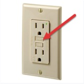 reset button is in the middle of an GCFI outlet