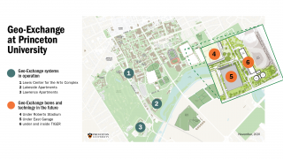 map of geo-exchange systems on campus