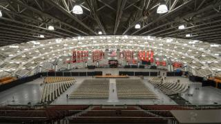 commencement setup in Jadwin for rain